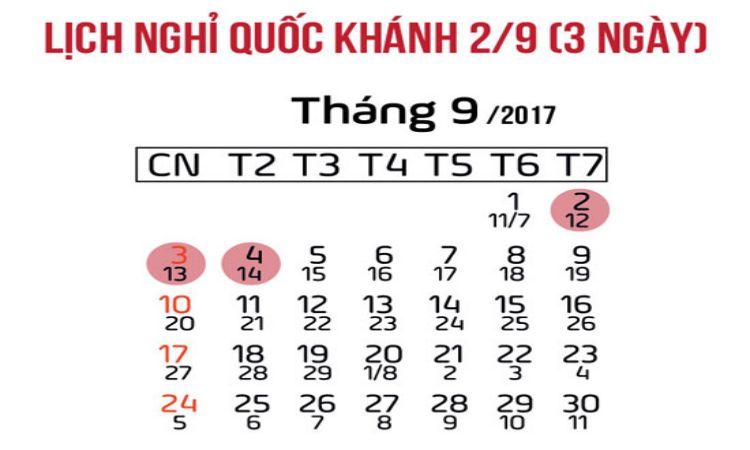 Quốc Khánh 2017 được nghỉ 3 ngày