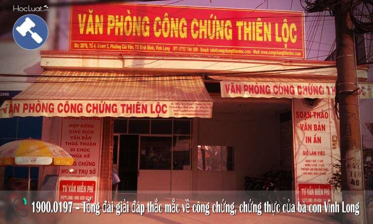 Danh sách văn phòng công chứng tại Vĩnh Long